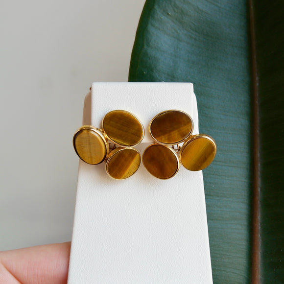 18K YELLOW GOLD TIGER EYE CLIP-ON EARRINGS