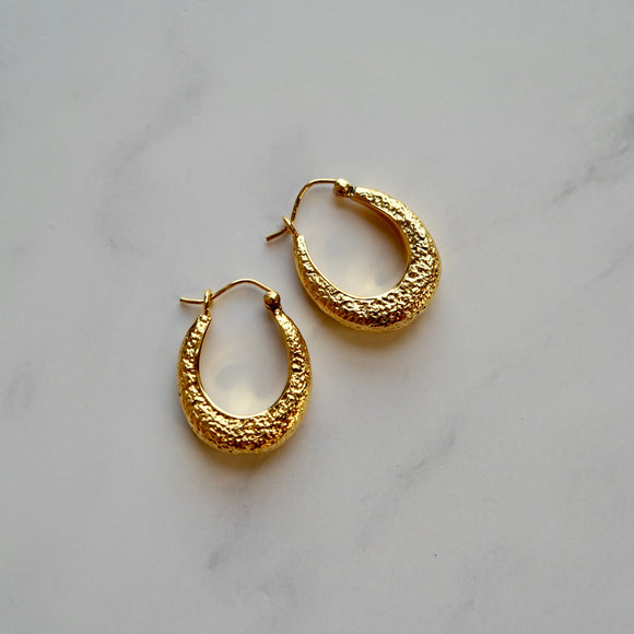 VERMEIL HAMMERED MINI HOOP EARRINGS