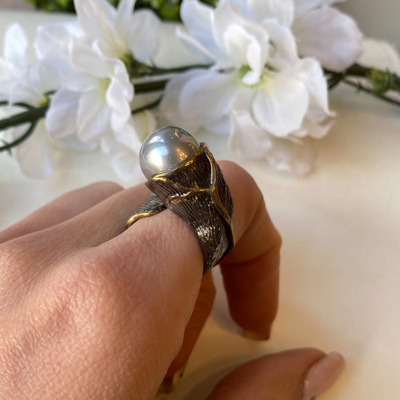OXIDIZED STERLING & SILVER VERMEIL GRAY PEARL WRAP BARK OPEN RING - PERSONA JEWELRY