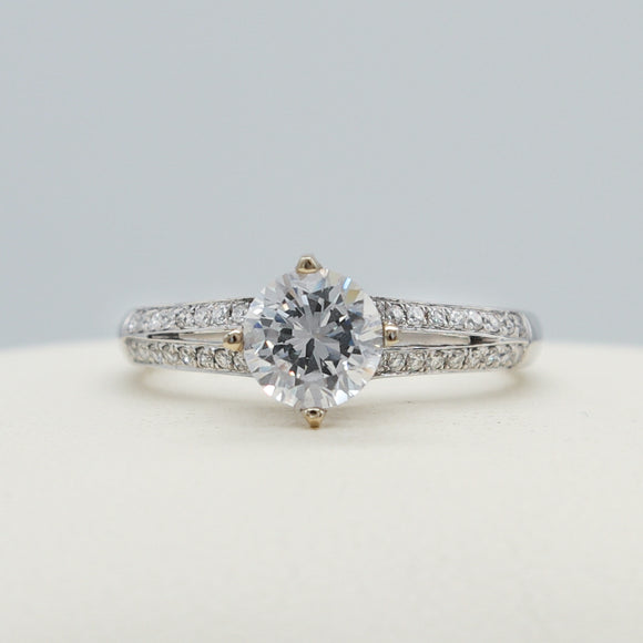 CUSTOMIZABLE 0.18CTTW DIAMOND SPLIT SHOULDER RING