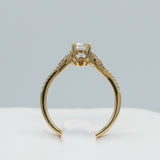 14K YELLOW GOLD 0.61 CTW JSI1 0.16 CTTW ROUND DIAMOND SPLIT SHOULDER RING
