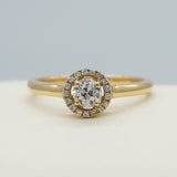 14K YELLOW GOLD 0.30 CTW GSI1 0.08 CTTW ROUND BRILLIANT CUT DIAMOND HALO RING