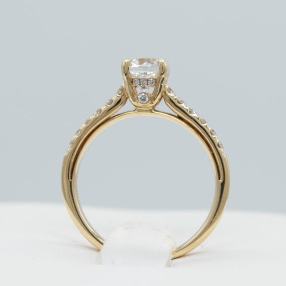 14KY 1.01 CTW HVS2 ROUND BRILLIANT CUT 0.27 CTTW DIAMOND RING