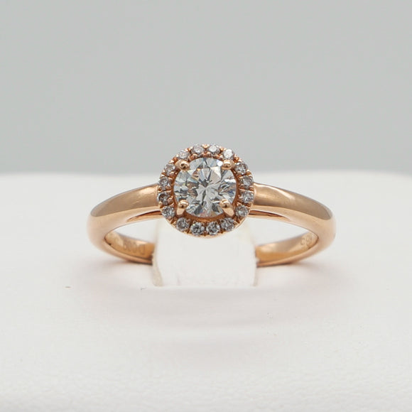 14K ROSE GOLD 0.42 CTW ROUND BRILLIANT CUT DIAMOND HSI1 0.09 CTTW HALO RING