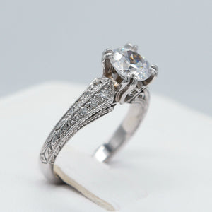 18KW 0.24 CTTW GSI1 FILIGREE ENGAGEMENT RING
