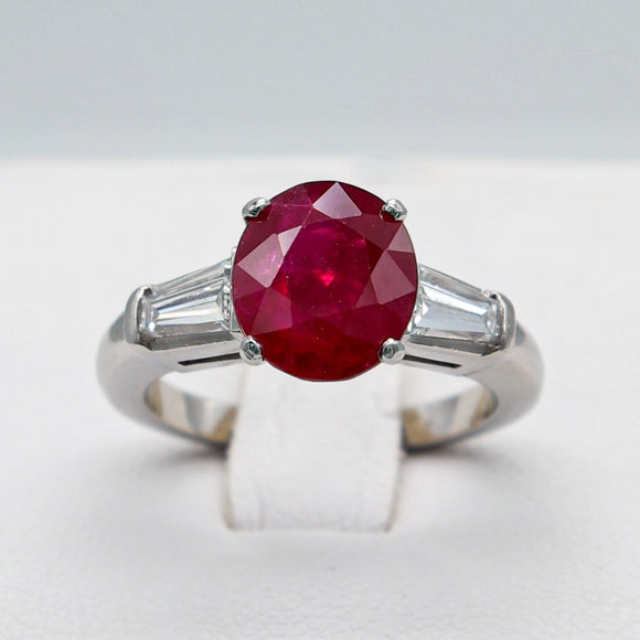 CUSTOMIZABLE PLATINUM 3.38 CTW OVAL BURMA RUBY 0.78 CTTW EVS1 BAGUETTE DIAMOND RING