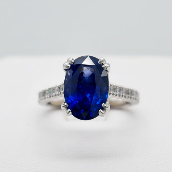 CUSTOMIZABLE PLATINUM 4.57 CTW OVAL BLUE SAPPHIRE 0.52 DIA CTTW RING
