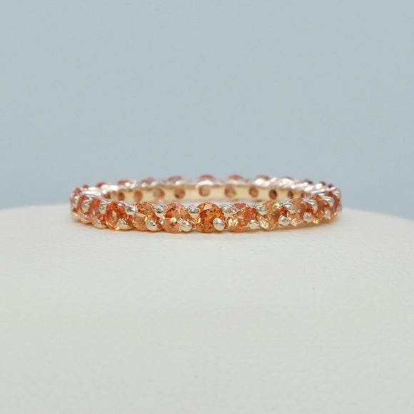 14K ROSE GOLD DIAGONAL PRONG ORANGE SAPPHIRE ETERNITY BAND - PERSONA JEWELRY