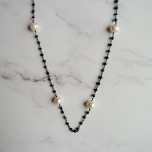 "OXIDIZED STERLING SILVER FRESHWATER PEARL & BLACK SPINEL 27"" NECKLACE - PERSONA JEWELRY"