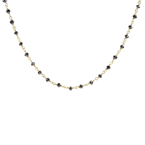 14K YELLOW GOLD 5.15 CTTW BLACK DIAMOND ROSARY CHAIN CHOKER NECKLACE - PERSONA JEWELRY