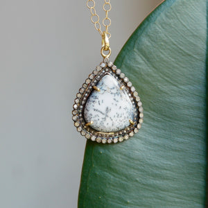 STERLING SILVER & VERMEIL TEARDROP DENDRITIC OPAL IN 1.12 CTTW DIAMOND HALO PENDANT - PERSONA JEWELRY