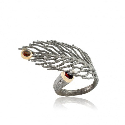 GARNET OXIDIZED SILVER JUNIPER LEAF RING - PERSONA JEWELRY