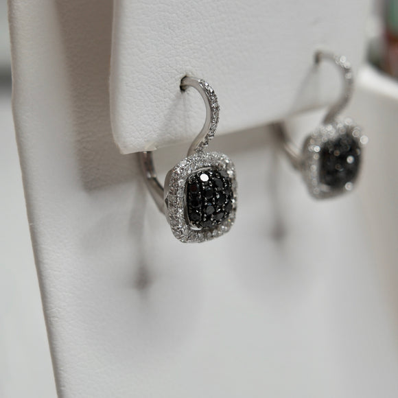 14K WHITE GOLD 1.00 CTTW BLACK AND WHITE DIAMOND HALO EARRINGS - PERSONA JEWELRY