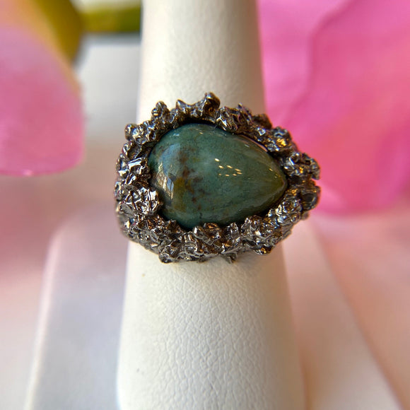 OXIDIZED STERLING SILVER PEAR SHAPE CABOCHON AGATE TEXTURED RING - PERSONA JEWELRY