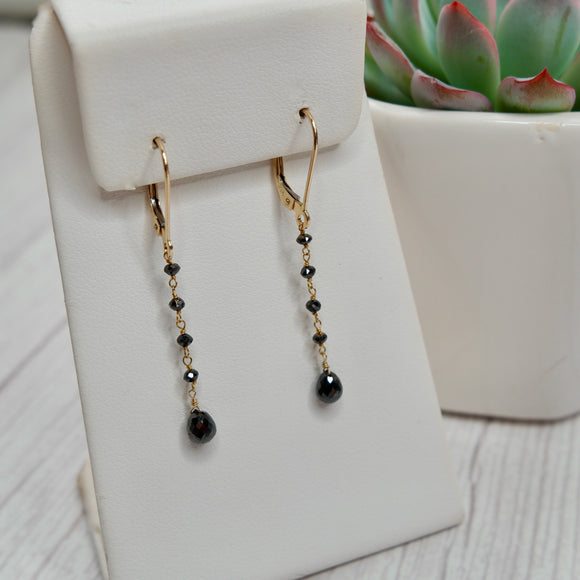 14K YELLOW GOLD BLACK DIAMONDS DANGLE EARRINGS - PERSONA JEWELRY