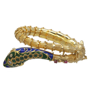 14K YELLOW GOLD DIAMOND RUBY EMERALD VINTAGE SNAKE BRACELET - PERSONA JEWELRY