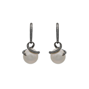 FRESH WATER PEARL AND WHITE TOPAZ EARRINGS - PERSONA JEWELRY
