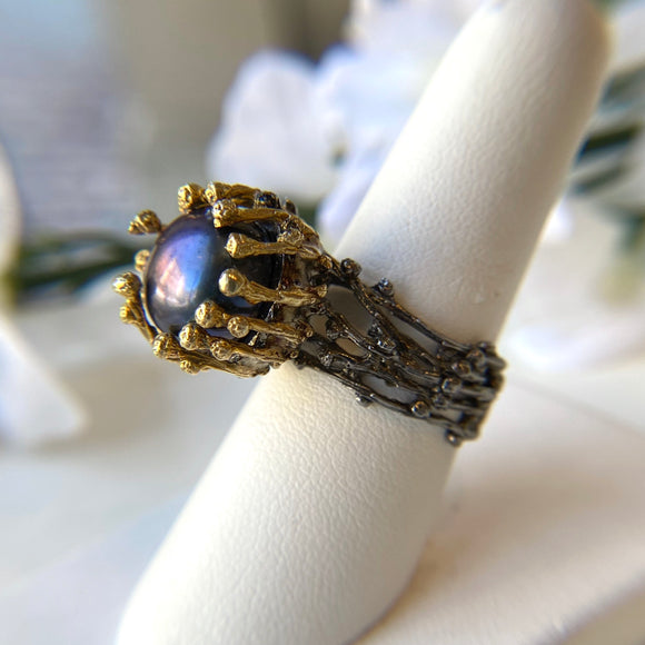 OXIDIZED STERLING SILVER & VERMEIL 12MM BLACK PEARL SKELTON BRANCH RING - PERSONA JEWELRY