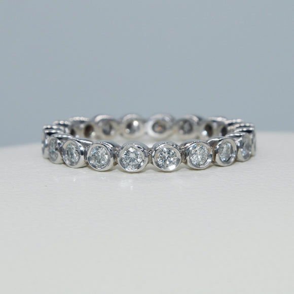 18K WHITE GOLD ROUND BEZEL SET DIAMOND ETERNITY BAND - PERSONA JEWELRY