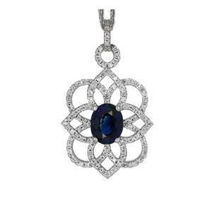 18K WHITE GOLD AND 1.53 CT SAPPHIRE AND DIAMOND PENDANT - PERSONA JEWELRY