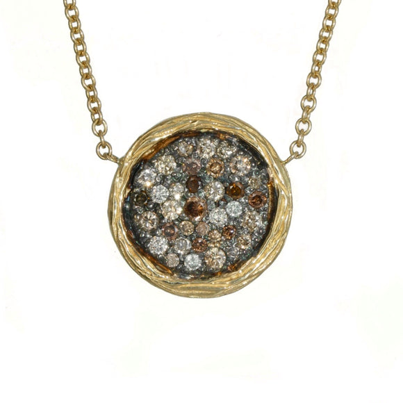 14K YELLOW GOLD 0.60 CARAT TOTAL WEIGHT WHITE AND COGNAC DIAMOND DISC NECKLACE - PERSONA JEWELRY