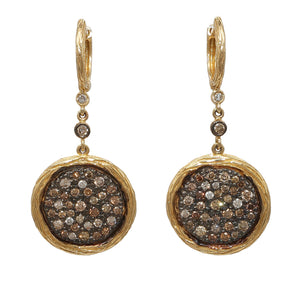 14K YELLOW GOLD 1.32 CTTW DIAMOND DROP DISK EARRINGS - PERSONA JEWELRY
