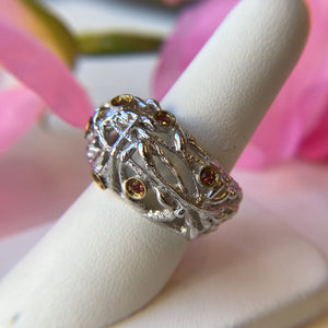 STERLING SILVER 0.35 CTTW GARNET THICKET DOME RING - PERSONA JEWELRY