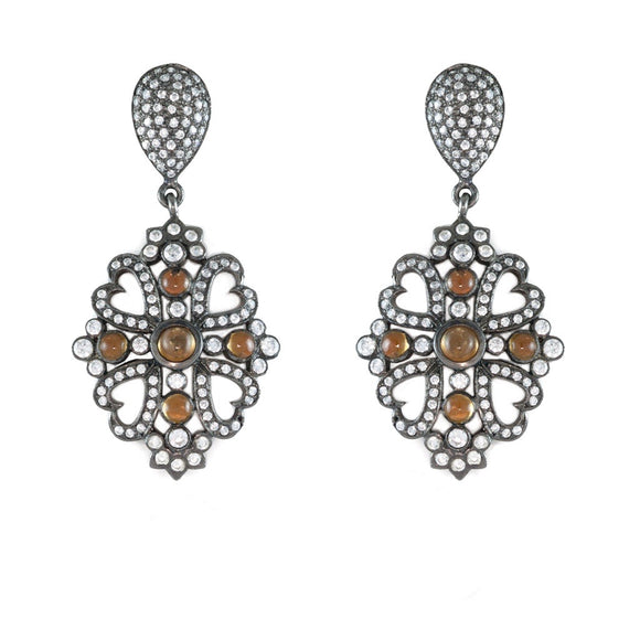 CITRINE OXIDIZED SILVER ORIENTAL CROSS EARRINGS - PERSONA JEWELRY