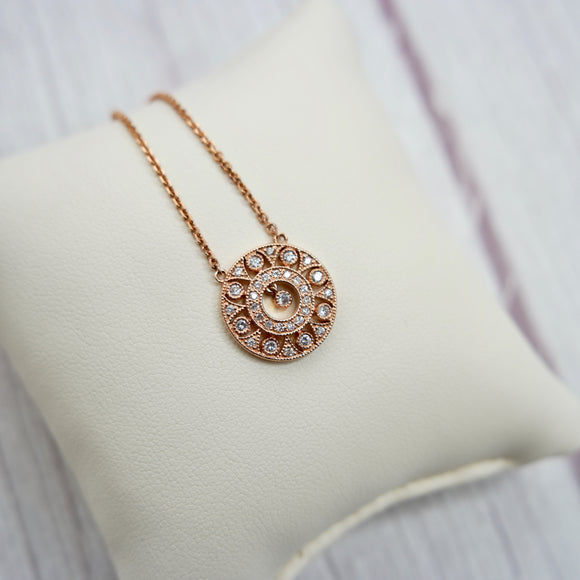 14K ROSE GOLD 0.38 CTTW BEZEL SET DIAMOND NECKLACE - PERSONA JEWELRY