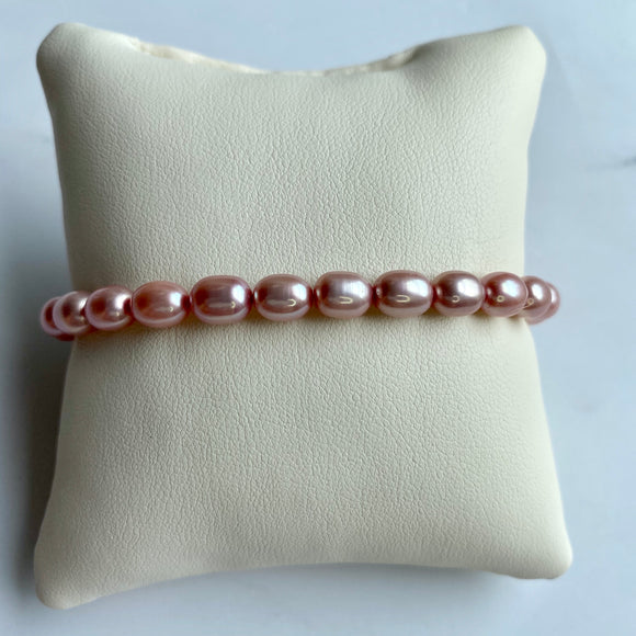 OVAL PINK FRESHWATER PEARL STRETCH BRACELET - PERSONA JEWELRY