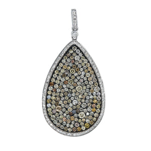 14K WHITE GOLD MULTI COLORED DIAMOND LARGE PEAR PENDANT - PERSONA JEWELRY