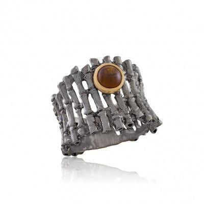 ORANGE AGATE OXIDIZED SILVER FENCE RING