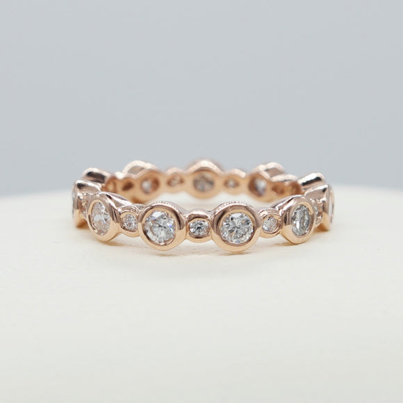 18K ROSE GOLD BEZEL SET DIAMOND ETERNITY BAND - PERSONA JEWELRY
