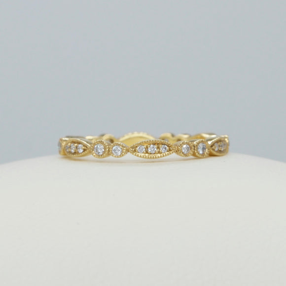 14K YELLOW GOLD DIAMOND VINTAGE STYLE MILGRAIN ETERNITY BAND - PERSONA JEWELRY
