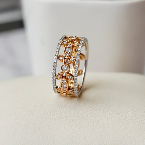 18K WHITE AND ROSE GOLD 1.12 CTTW DIAMOND MILGRAIN FLORAL WORK ETERNITY BAND - PERSONA JEWELRY