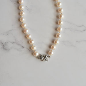 8 MM ROUND SEA PEARL NECKLACE WITH 14K WHITE GOLD AND DIAMOND CLASP - PERSONA JEWELRY