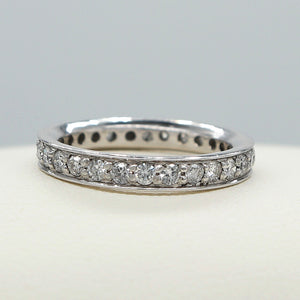 14K WHITE GOLD COMMON PRONG SET WITH EDGE DIAMOND ETERNITY BAND - PERSONA JEWELRY