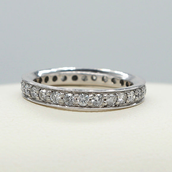 14K WHITE GOLD BEAD AND BRIGHT SET DIAMOND ETERNITY BAND - PERSONA JEWELRY