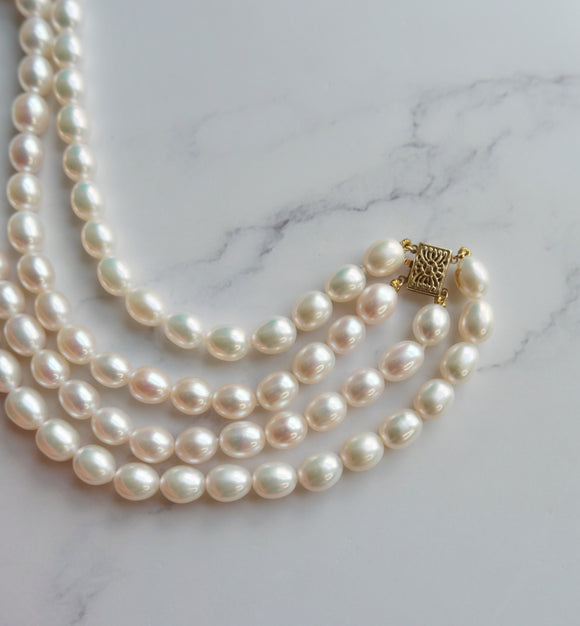 DOUBLE STRAND FRESHWATER PEARL NECKLACE - PERSONA JEWELRY