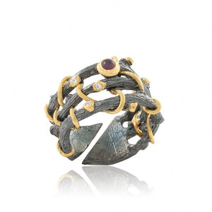 GARNET OXIDIZED SILVER BINDWEED RING - PERSONA JEWELRY