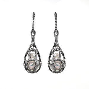 BAROQUE PEARLS AND WHITE TOPAZ LOCKET EARRINGS - PERSONA JEWELRY