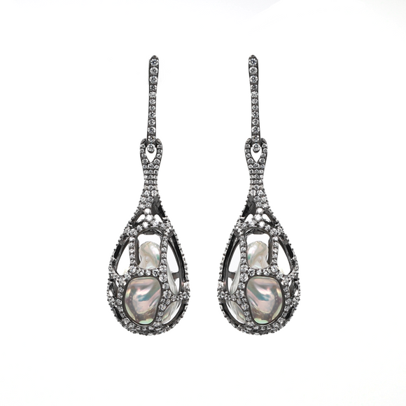 Baroque Pearls and white topaz silver locket earrings - PERSONA JEWELRY