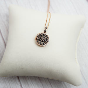 14K ROSE GOLD 0.58 CTTW DIAMOND DISK NECKLACE - PERSONA JEWELRY