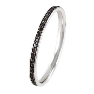 18K OXIDIZED WHITE GOLD BLACK DIAMOND ETERNITY BAND - PERSONA JEWELRY