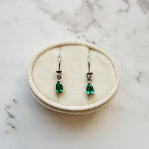 18K WHITE GOLD 0.66 CTTW PEAR SHAPE EMERALD AND 0.06 CTTW DIAMOND HOOK EARRINGS - PERSONA JEWELRY