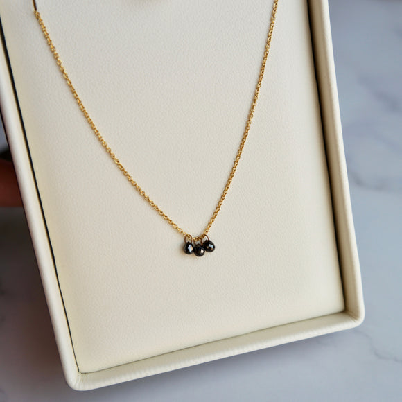 18K YELLOW GOLD BLACK DIAMOND BRIOLETTE 16