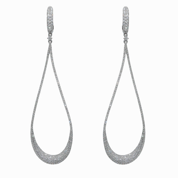 14K WHITE GOLD 1.41 CT.T.W. DIAMOND 3'' TEAR DROP EARRINGS - PERSONA JEWELRY