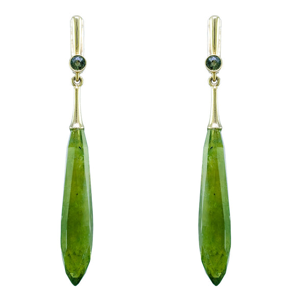 18K YELLOW GOLD VESUVIANITE & GREEN SAPPHIRE DROP EARRINGS - PERSONA JEWELRY