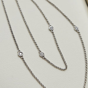 14K WHITE GOLD 0.27 CTTW BEZEL SET DIAMOND BY THE YARD 16-18'' CHAIN NECKLACE - PERSONA JEWELRY