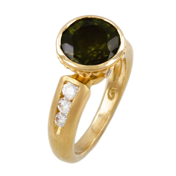 18K YELLOW GOLD 3.10 CTW GREEN TOURMALINE AND 0.45 CTTW DIAMOND RING - PERSONA JEWELRY